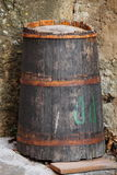 Old wine barrel stock image