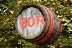 Old wine barrel. On the street stock photo