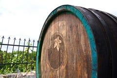 Old wine barrel. Wooden wine barrel, wine barrel located in the garden, wine barrel located in the vineyard Royalty Free Stock Photography