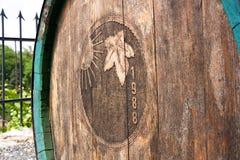 Old wine barrel. Wooden wine barrel, wine barrel located in the garden, wine barrel located in the vineyard Royalty Free Stock Photos