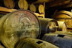 Old wine barrels Stock Photo