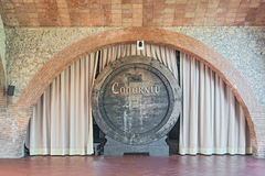 Old wine barrels in Codorniu winery in Spain Royalty Free Stock Image