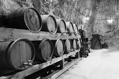 Old wine barrels in a salt mine Stock Photos