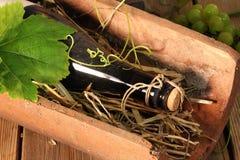 Old wine bottle on straw Stock Photo