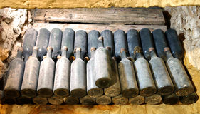 Old wine bottles in the cellar wine cellar Royalty Free Stock Image