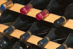 Old wine bottles in wine cell Royalty Free Stock Photography