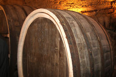 The old wine cask. In the cellar royalty free stock photo