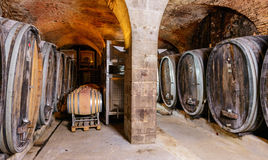 Old Wine Cellar With Barrels Stock Image