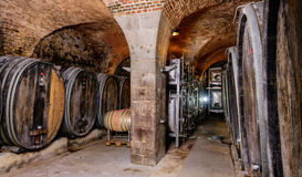 Old Wine Cellar With Barrels Stock Photography