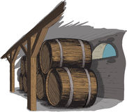 Old wine cellar with rows of barrels. Like woodcut technique Stock Photography