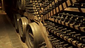 Old wine. Cellar for wine storage.  stock video