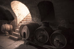 Old wine cellar with wooden barrels and stone stairs Royalty Free Stock Images