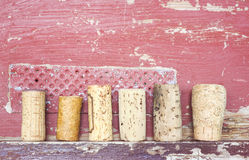 Old wine corks, grungy background, Royalty Free Stock Image