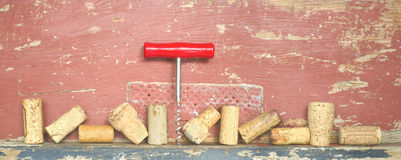 Old wine corks panoramic format Royalty Free Stock Photos