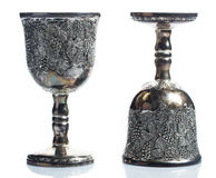 Old wine goblets. On white background Royalty Free Stock Images
