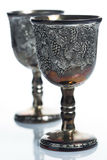 Old wine goblets. On white background Stock Photo