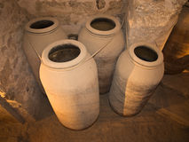 Old wine pottery. Old containers for wine or water Royalty Free Stock Photos