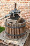 Old  wine press. Old wooden wine press for grape juice Royalty Free Stock Photos