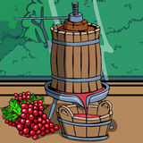 Old wine press with red grapes Stock Image