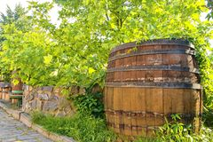 Old wine press and rustic wine barrel.. Wine background in Europe. Czech Republic, South Moravia.  stock image