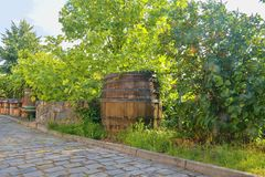 Old wine press and rustic wine barrel.. Wine background in Europe. Czech Republic, South Moravia.  stock photo