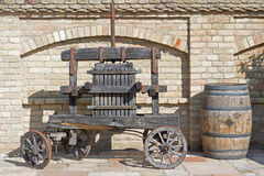 Old Wine Press. Traditional old Technique of Wine Making, Wooden Antique Grape Press. Royalty Free Stock Image