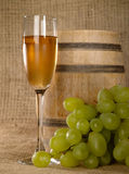 Old wine still-life with grape Stock Photos