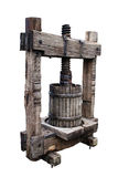 Old winepress on white Royalty Free Stock Photo