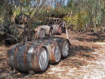 Old Winery Barrels with Wagon Stock Photos