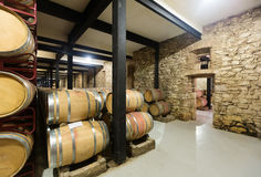 Old winery with wooden barrels Royalty Free Stock Photo