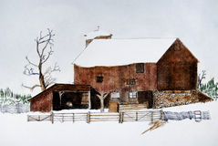 Old winter barn Royalty Free Stock Photos
