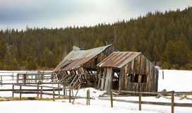 Old Winter Barn on Ranch Stock Image