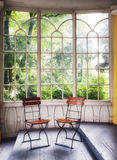 Old winter garden. Old wooden winter garden - nice background royalty free stock photography