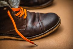 Old winter warm boots royalty free stock photography
