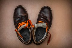 Old winter warm boots royalty free stock photo