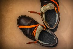 Old winter warm boots royalty free stock image