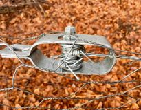 Old wire tensioner of a wire fence in closeup Stock Photo
