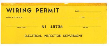 Old Wiring Permit Stock Photo