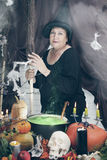 Old witch with a broom,  tinted Stock Photos