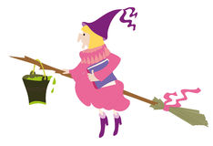 Old witch with full tin bucket of poison on the broom Royalty Free Stock Photography