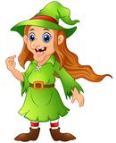 Old witch in green christmas elf costume Royalty Free Stock Photo