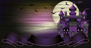 Old witch haunted castle banner Stock Images