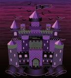 Old witch  haunted castle card Royalty Free Stock Photos