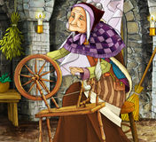 Old witch in the old room - illustration for different subjects Royalty Free Stock Images