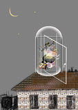 Old witch reading an old magic book floating in a cage. Old witch reading an old magic book, sitting on a stone with a head, halloween card, raster illustration Stock Photo