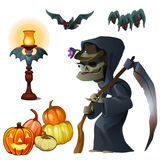 Old witch with scythe, pumpkin lantern and bats Royalty Free Stock Photo