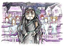 Old witch with two pair of eyes. Faceless ghost children all around. Hand drawn illustration. Watercolor painting vector illustration