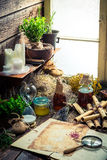Old witch workshop with scrolls and ingredients Royalty Free Stock Photography