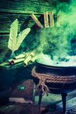 Old witcher cauldron with green mixture for Halloween. On dark background Royalty Free Stock Image