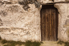 Old Wizard cave house entrance door Stock Photos